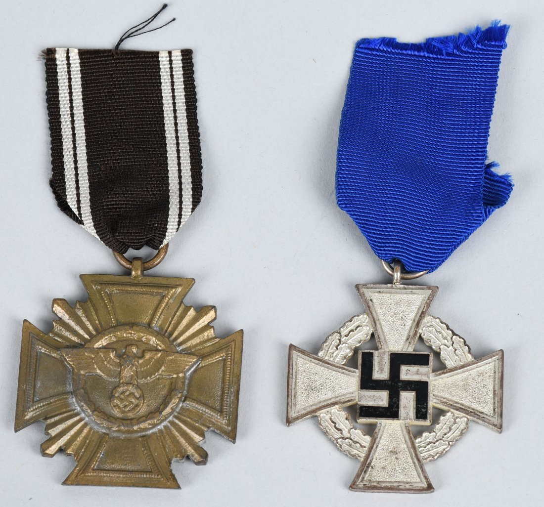 WWII NAZI GERMAN 10 YEAR & 25 YEAR SERVICE MEDALS