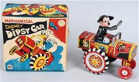 LINEMAR Tin Windup MICKEY MOUSE DIPSY CAR w BOX