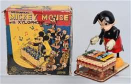 LINEMAR Tin Windup MICKEY MOUSE XYLOPHONE w BOX