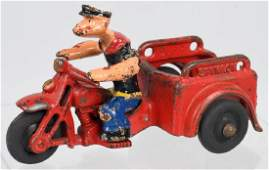 HUBLEY cast iron POPEYE SPINACH PATROL MOTORCYCLE