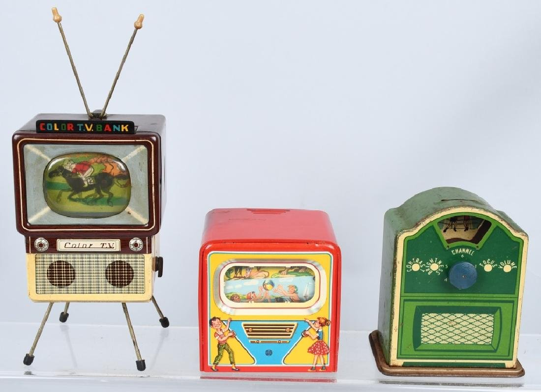 3-TELEVISION tin BANKS, GERMAN & JAPAN