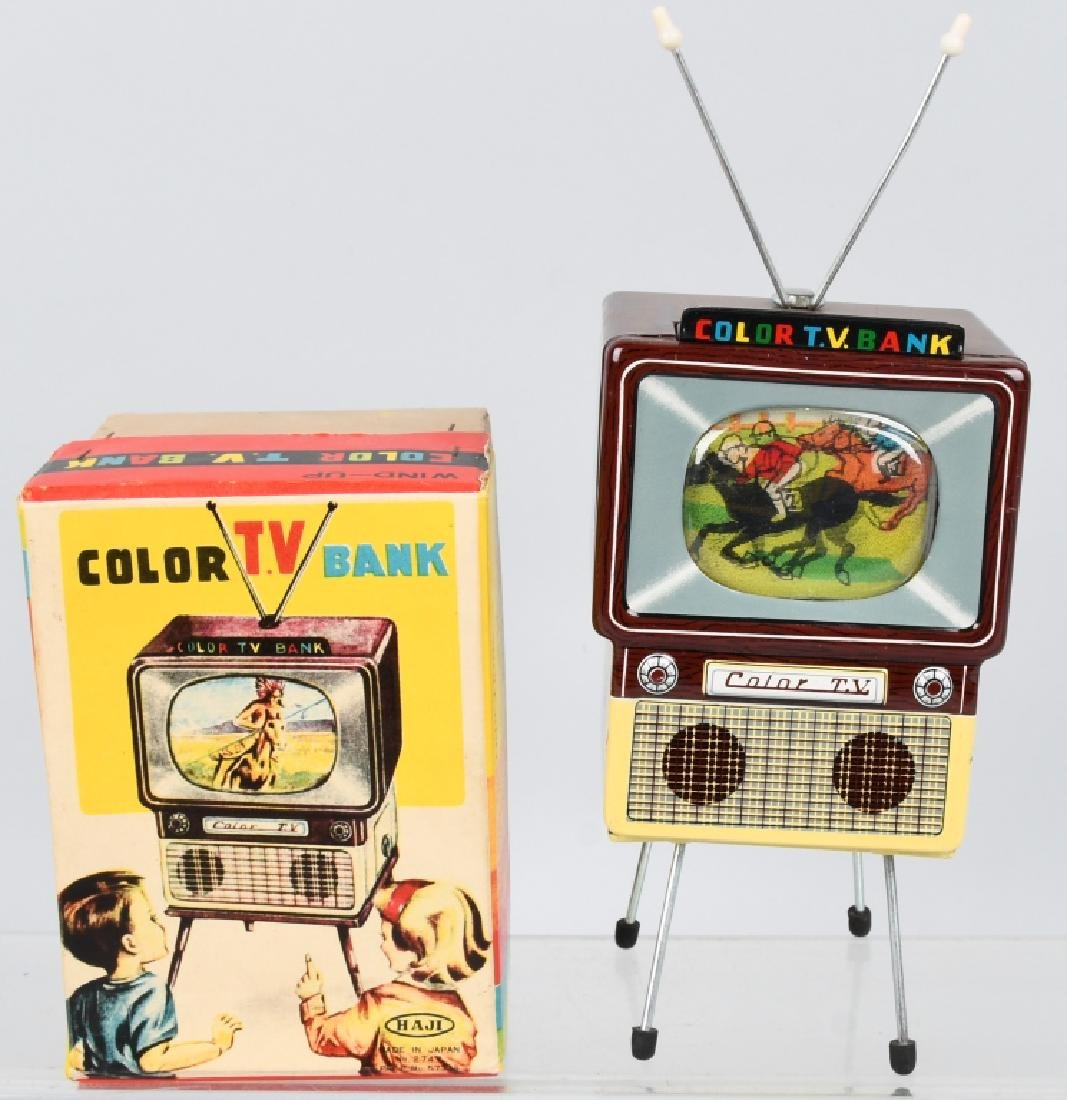 JAPAN Tin Windup COLOR TV BANK w/ BOX