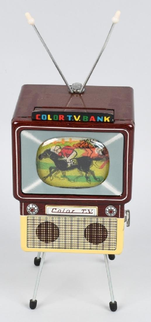 JAPAN Tin Windup COLOR TV BANK w/ BOX - 2