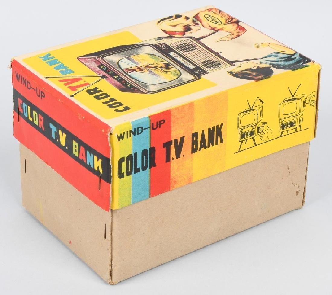 JAPAN Tin Windup COLOR TV BANK w/ BOX - 7