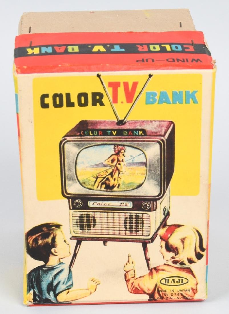 JAPAN Tin Windup COLOR TV BANK w/ BOX - 8