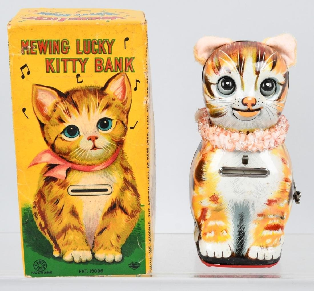 JAPAN Tin Windup MEWING LUCKY KITTY BANK w/ BOX