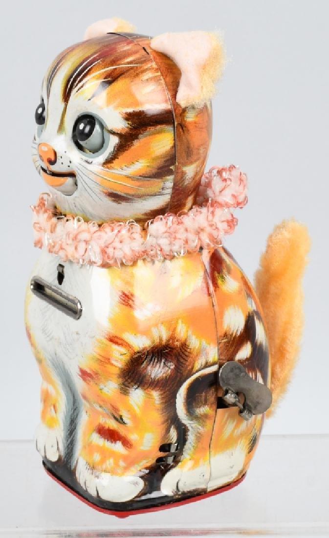 JAPAN Tin Windup MEWING LUCKY KITTY BANK w/ BOX - 2