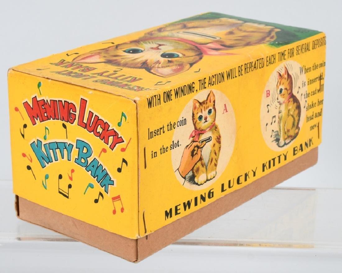 JAPAN Tin Windup MEWING LUCKY KITTY BANK w/ BOX - 6