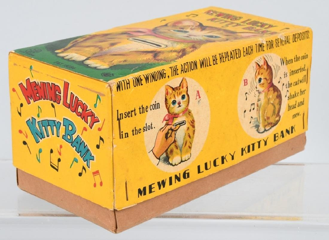 JAPAN Tin Windup MEWING LUCKY KITTY BANK w/ BOX - 7