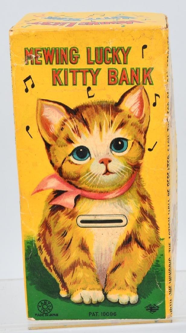 JAPAN Tin Windup MEWING LUCKY KITTY BANK w/ BOX - 8