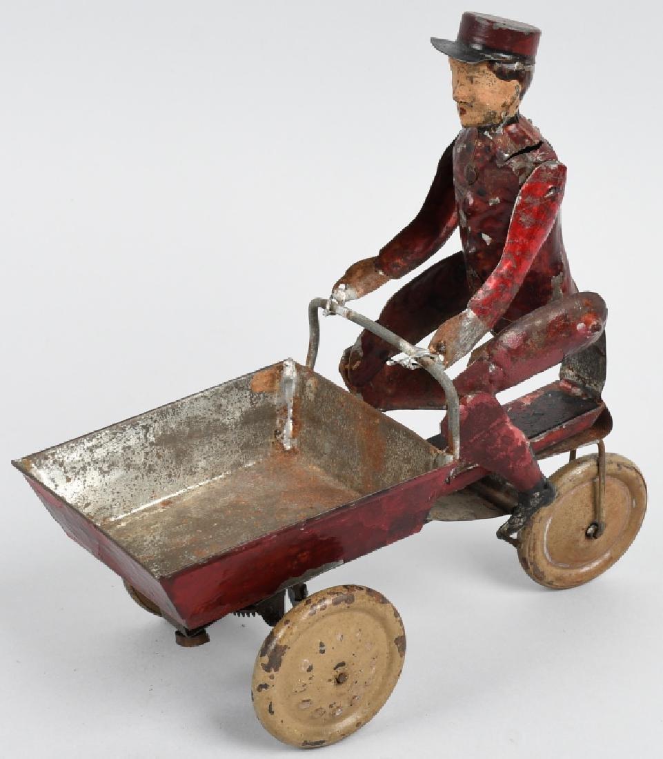 TIN WINDUP MAD PEDDLING VENDING CART BICYCLE