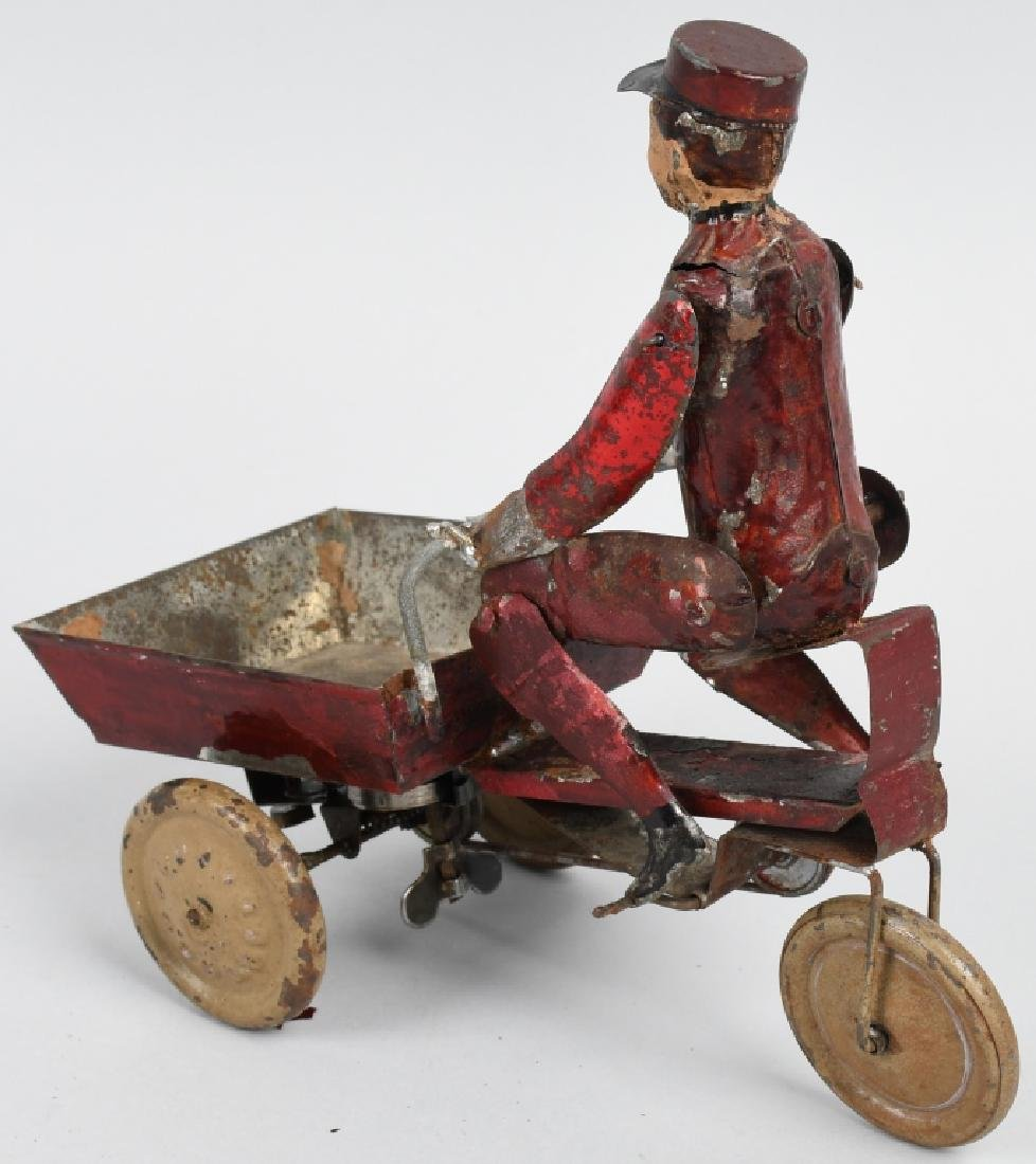 TIN WINDUP MAD PEDDLING VENDING CART BICYCLE - 2