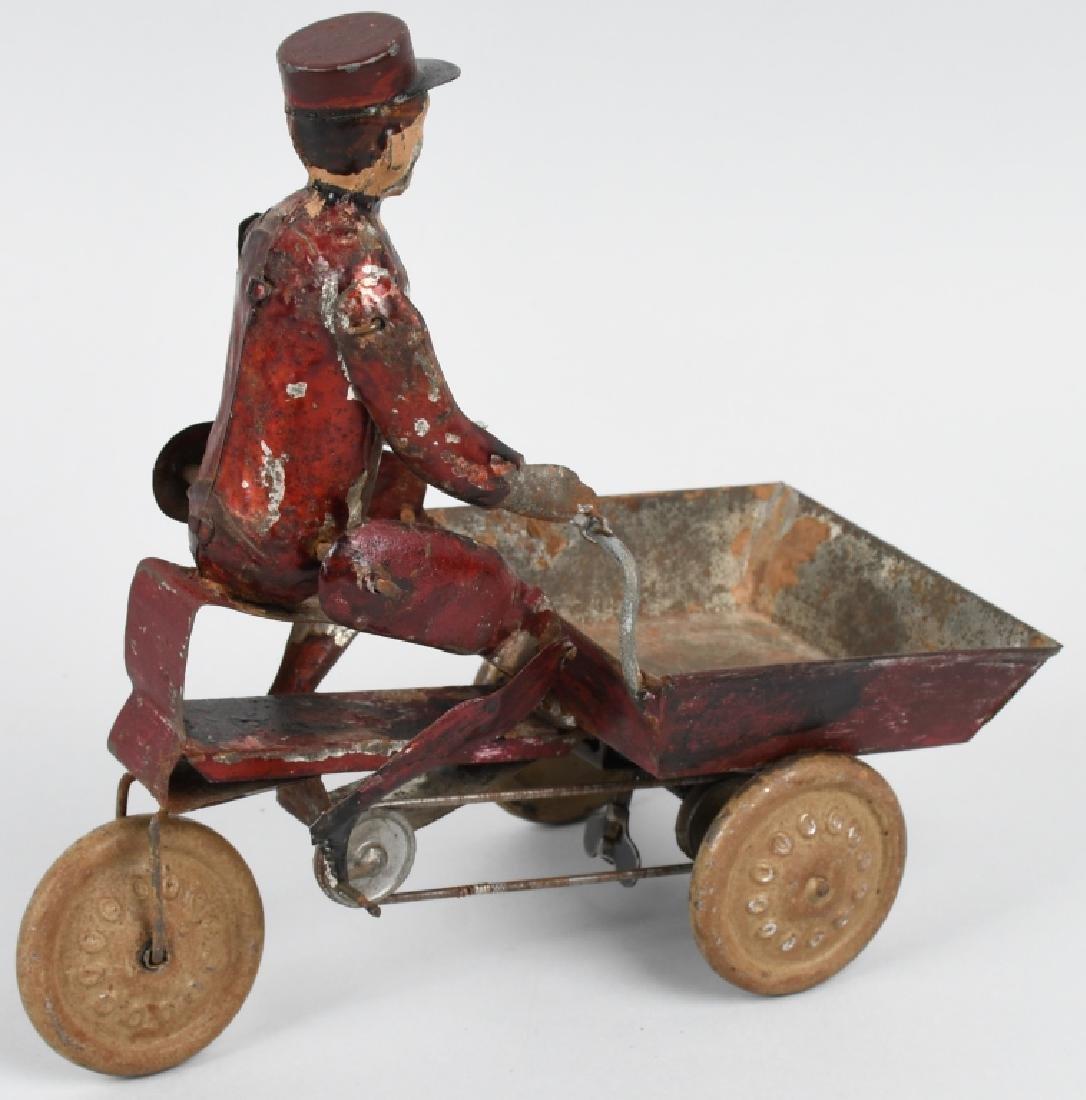 TIN WINDUP MAD PEDDLING VENDING CART BICYCLE - 3