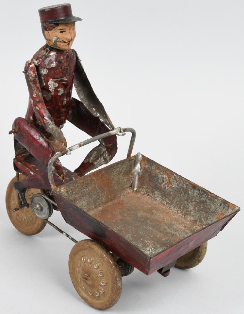 TIN WINDUP MAD PEDDLING VENDING CART BICYCLE - 4