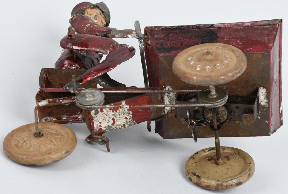 TIN WINDUP MAD PEDDLING VENDING CART BICYCLE - 5