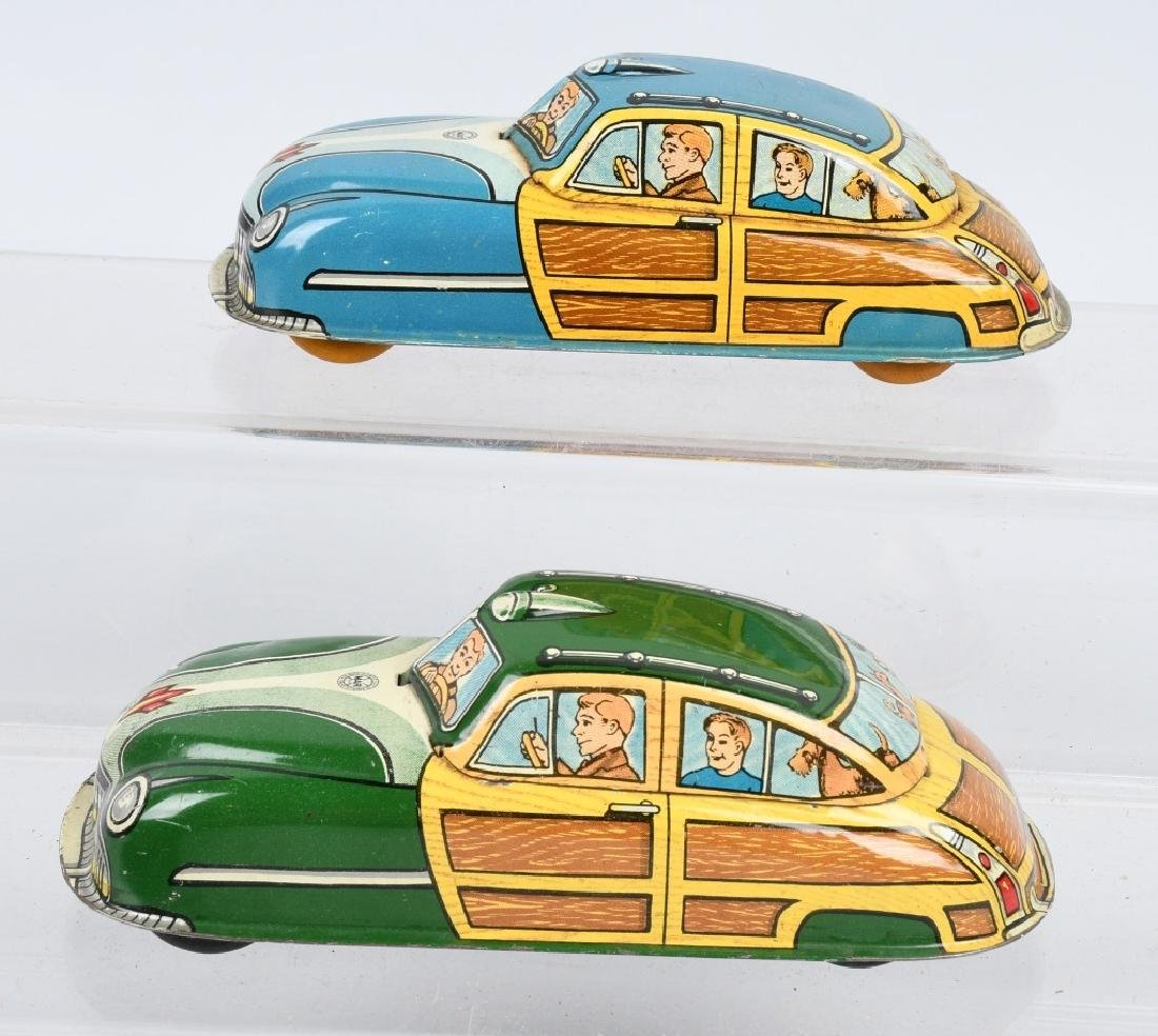 2- MARX Tin Windup WOODY CARS