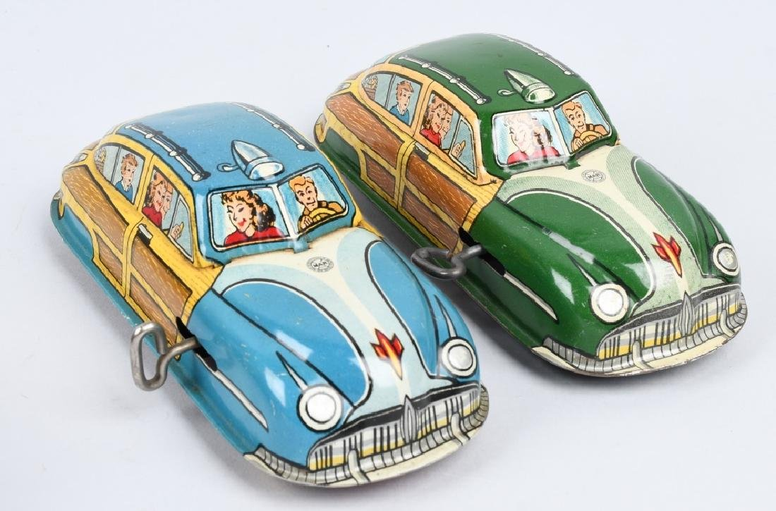 2- MARX Tin Windup WOODY CARS - 5