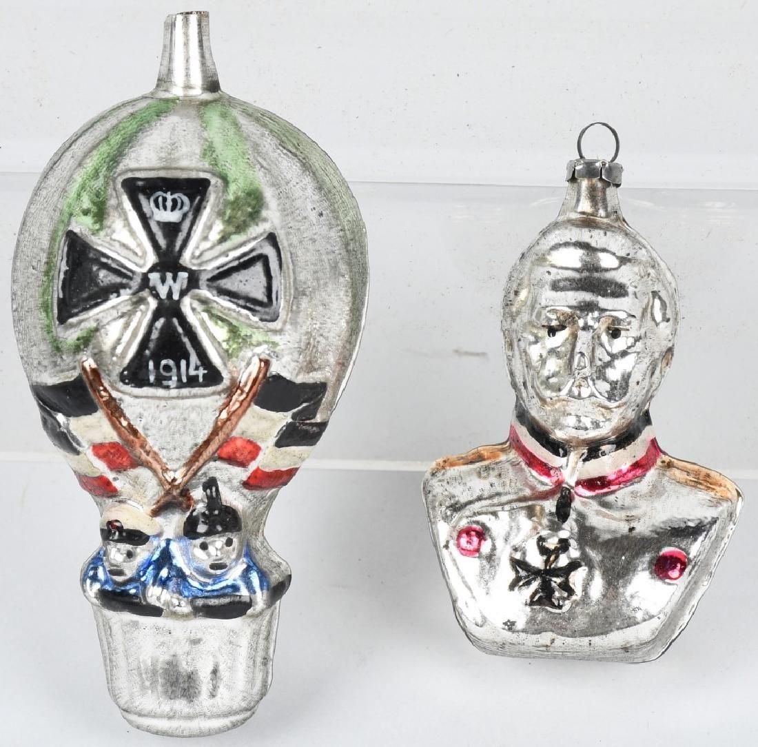 2- GERMAN WWI GLASS BLOWN CHRISTMAS ORNAMENTS
