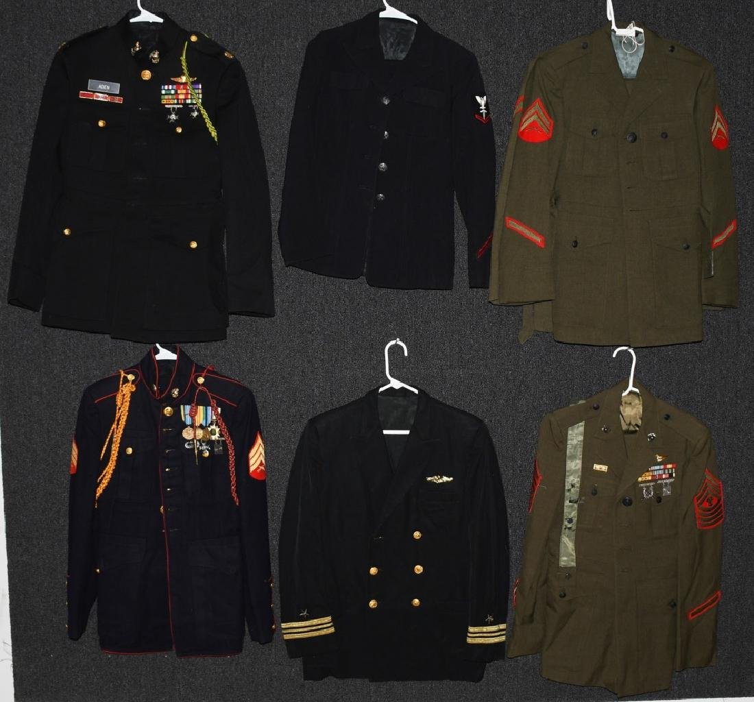 LOT OF 10 US ARMY, NAVY, USMC UNIFORMS, HATS