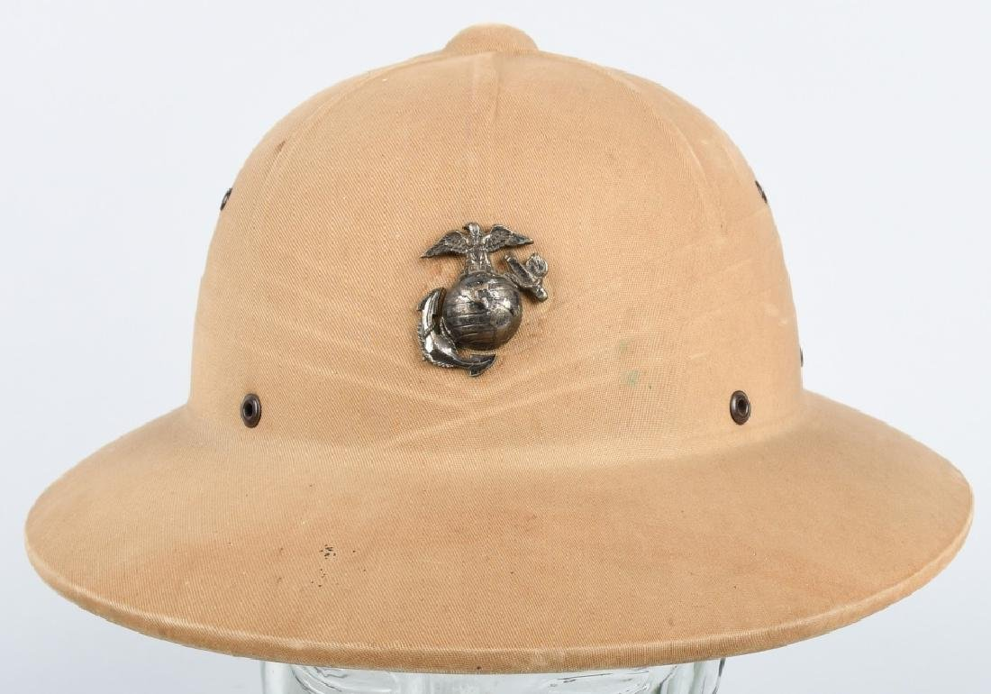 WWII US MARINE CORPS PITH HELMET WITH EGA