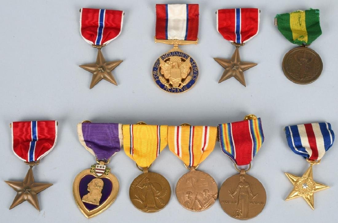 WWII US LOT OF NUMBERED MEDALS, SILVER STAR, DSM