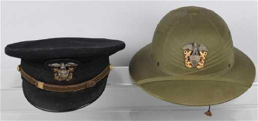 7c93dd1bd2 WWII U.S NAVY HAT LOT - VISOR   HAWLEY PITH HELMET