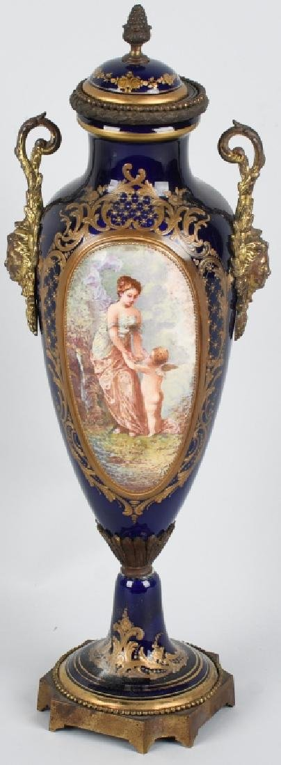 2-19TH CENTURY HAND PAINTED SEVRES URNS - 10