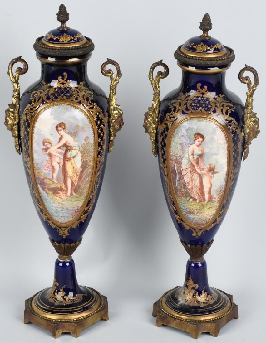 2-19TH CENTURY HAND PAINTED SEVRES URNS