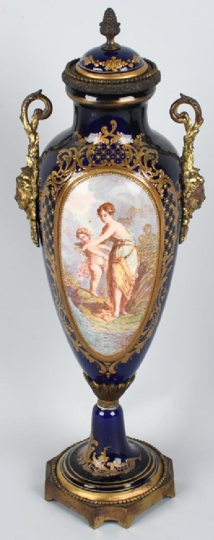 2-19TH CENTURY HAND PAINTED SEVRES URNS - 2