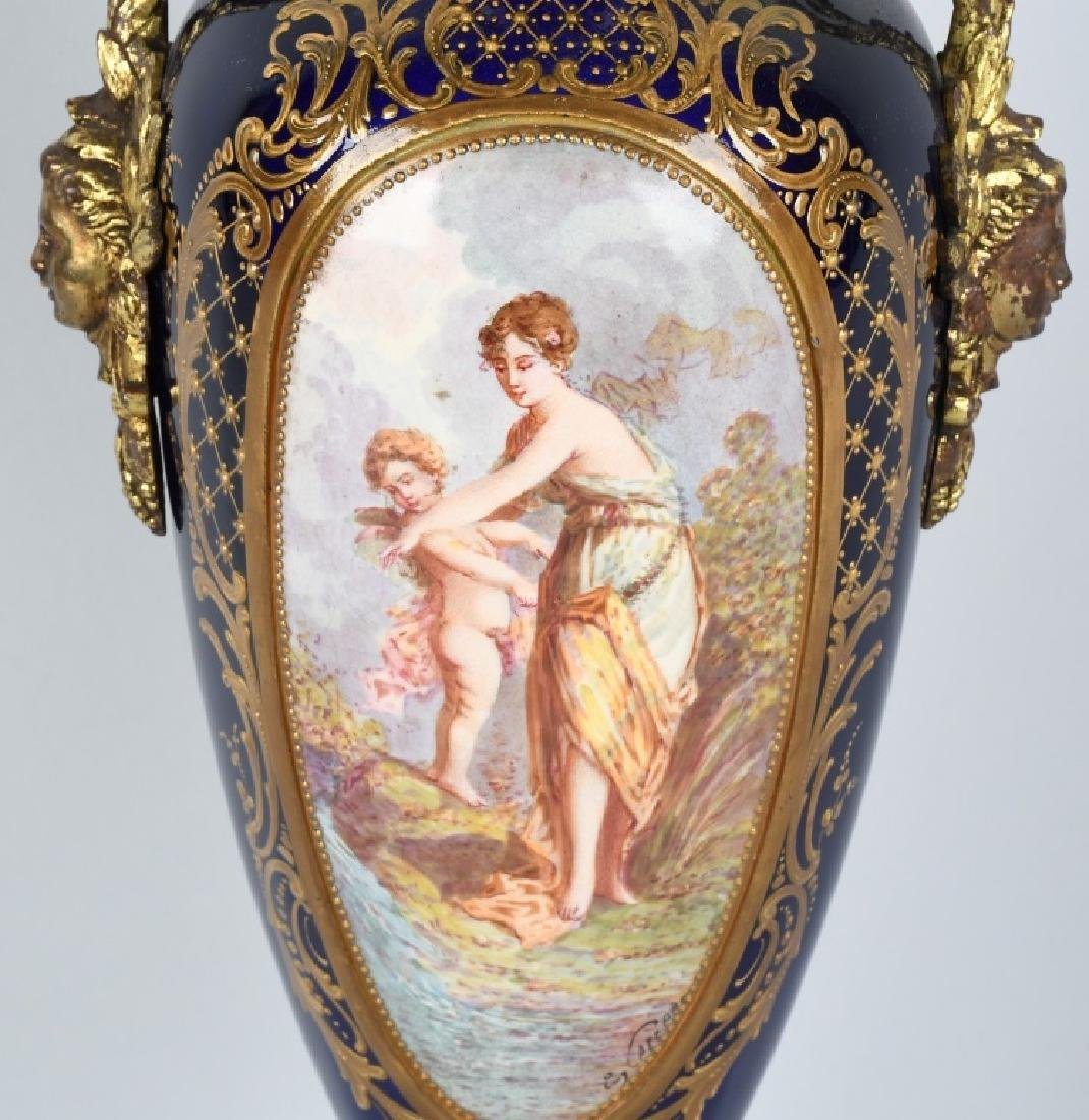 2-19TH CENTURY HAND PAINTED SEVRES URNS - 3