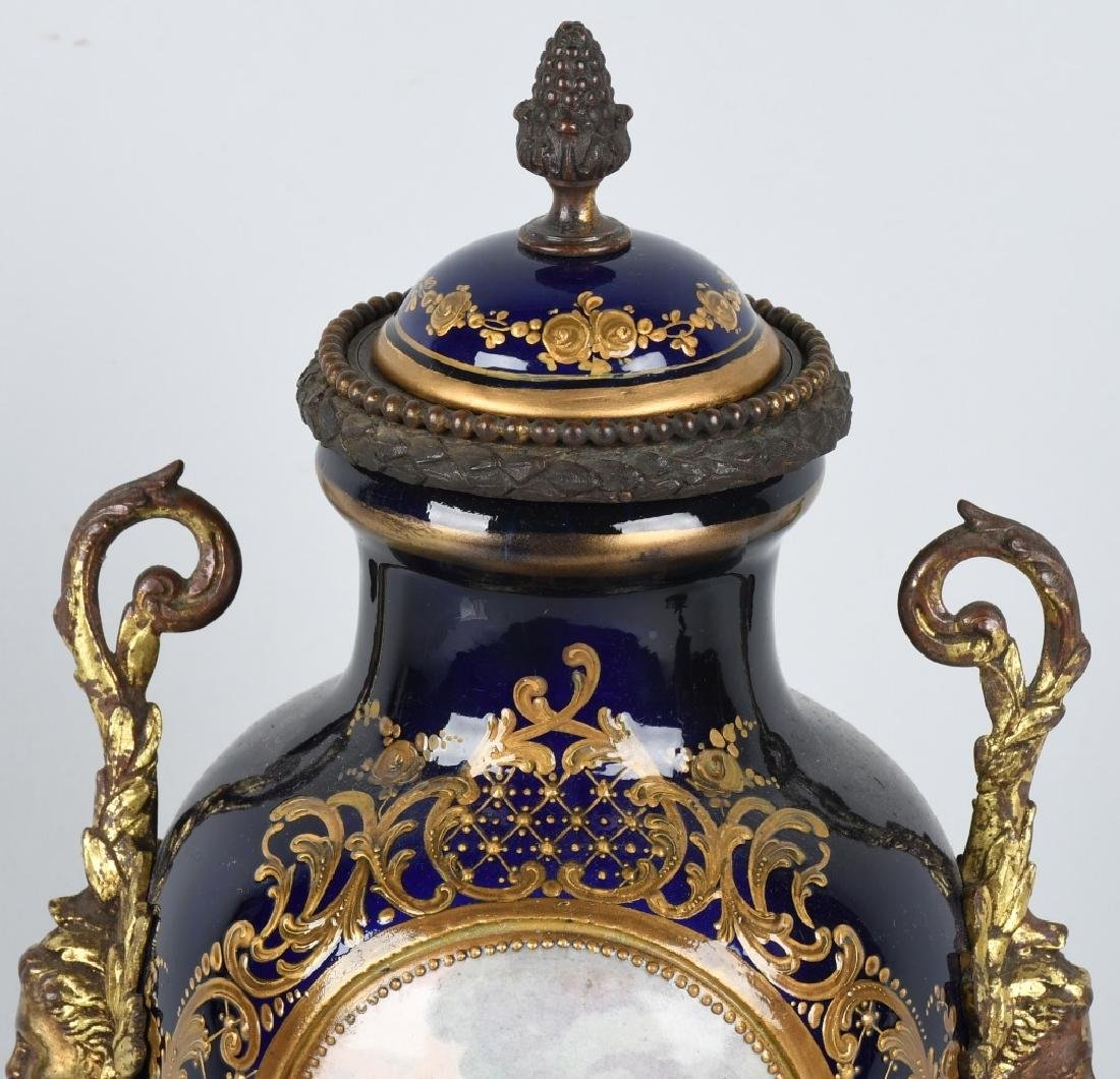 2-19TH CENTURY HAND PAINTED SEVRES URNS - 4