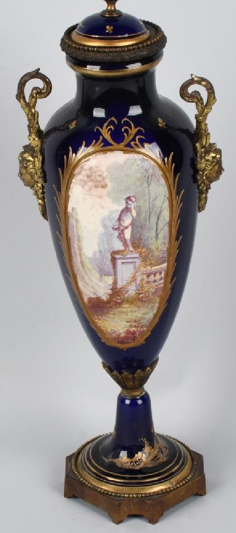 2-19TH CENTURY HAND PAINTED SEVRES URNS - 6