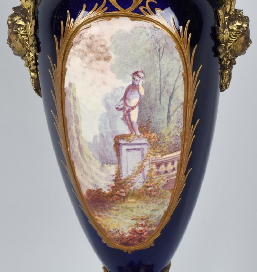 2-19TH CENTURY HAND PAINTED SEVRES URNS - 7
