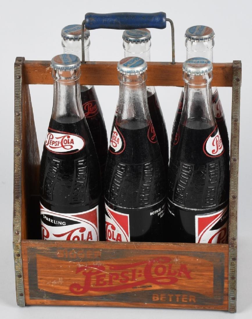 1930s PEPSI WOODEN SIX PACK w/ BOTTLES