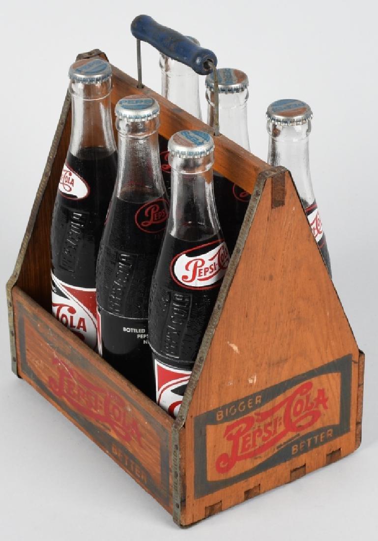 1930s PEPSI WOODEN SIX PACK w/ BOTTLES - 3
