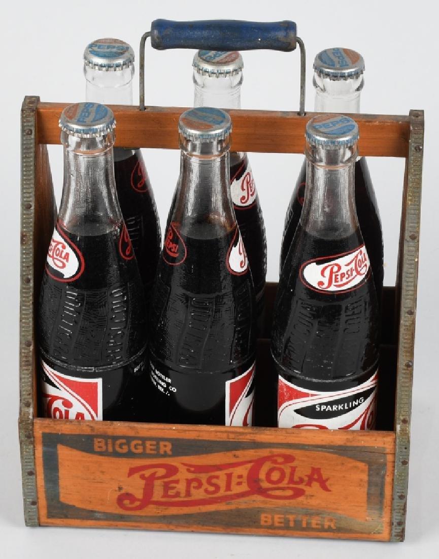 1930s PEPSI WOODEN SIX PACK w/ BOTTLES - 4