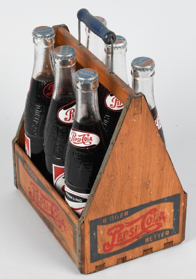 1930s PEPSI WOODEN SIX PACK w/ BOTTLES - 5