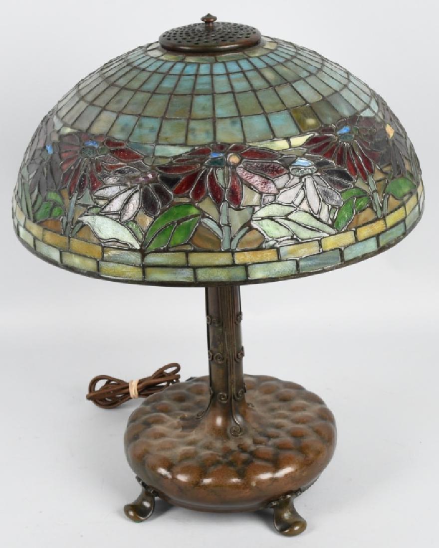 TIFFANY STUDIOS POINSETTIA LEADED GLASS TABLE LAMP