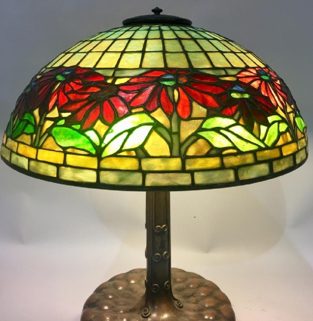 TIFFANY STUDIOS POINSETTIA LEADED GLASS TABLE LAMP - 2