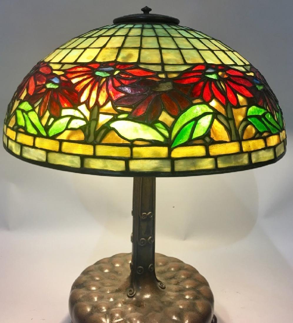 TIFFANY STUDIOS POINSETTIA LEADED GLASS TABLE LAMP - 3