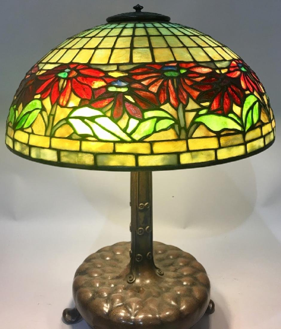 TIFFANY STUDIOS POINSETTIA LEADED GLASS TABLE LAMP - 4