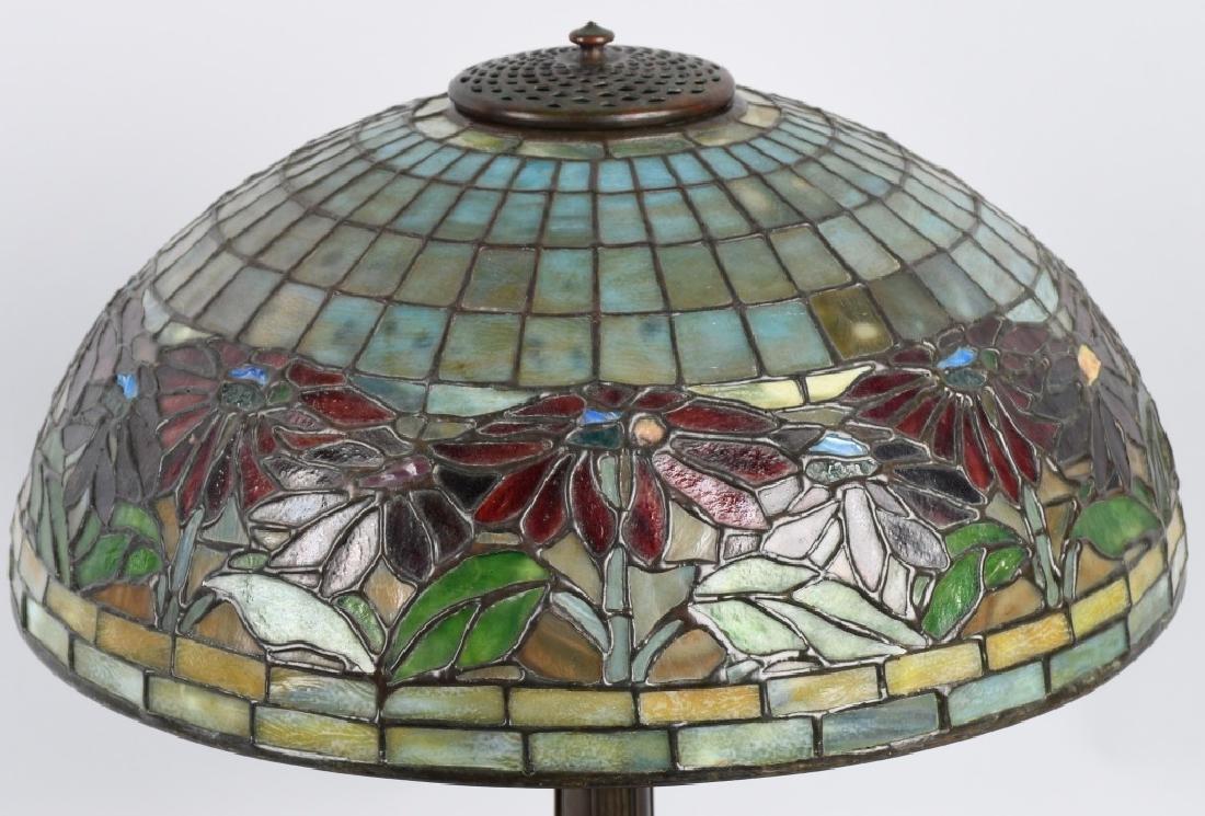 TIFFANY STUDIOS POINSETTIA LEADED GLASS TABLE LAMP - 5