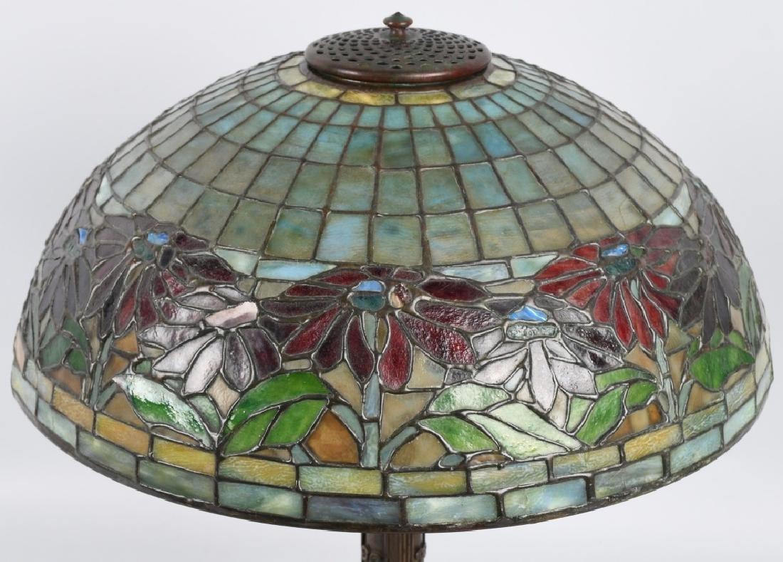 TIFFANY STUDIOS POINSETTIA LEADED GLASS TABLE LAMP - 6