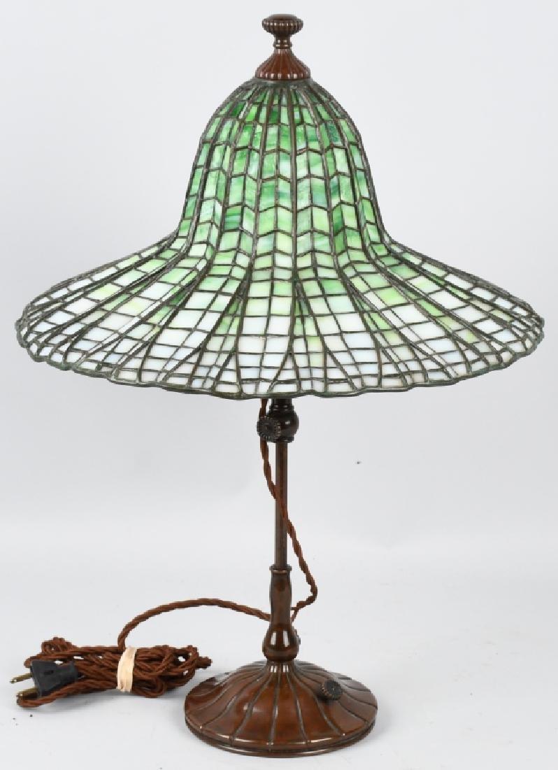 TIFFANY STUDIOS LOTUS LEADED TABLE LAMP