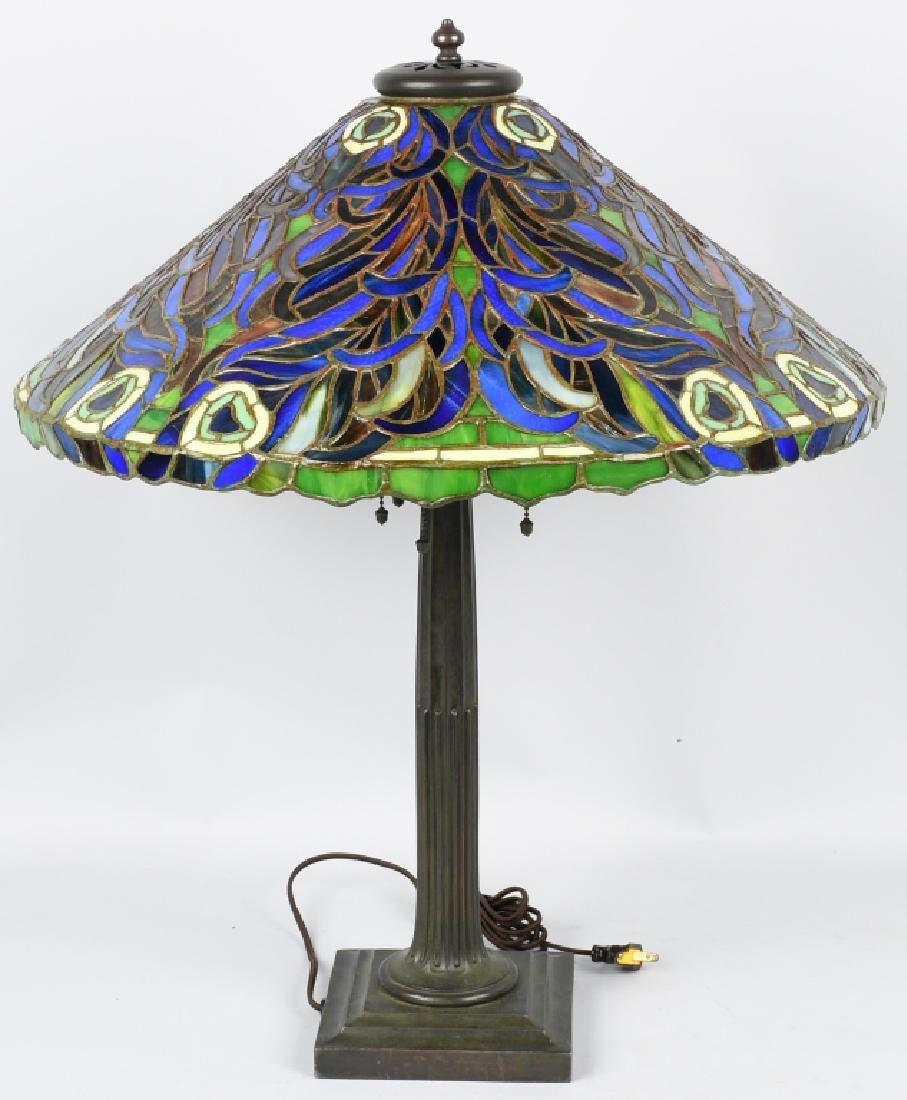 DUFFNER & KIMBERLY PEACOCK LEADED TABLE LAMP