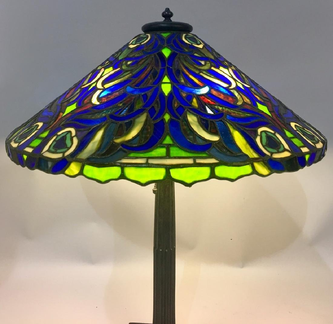 DUFFNER & KIMBERLY PEACOCK LEADED TABLE LAMP - 4