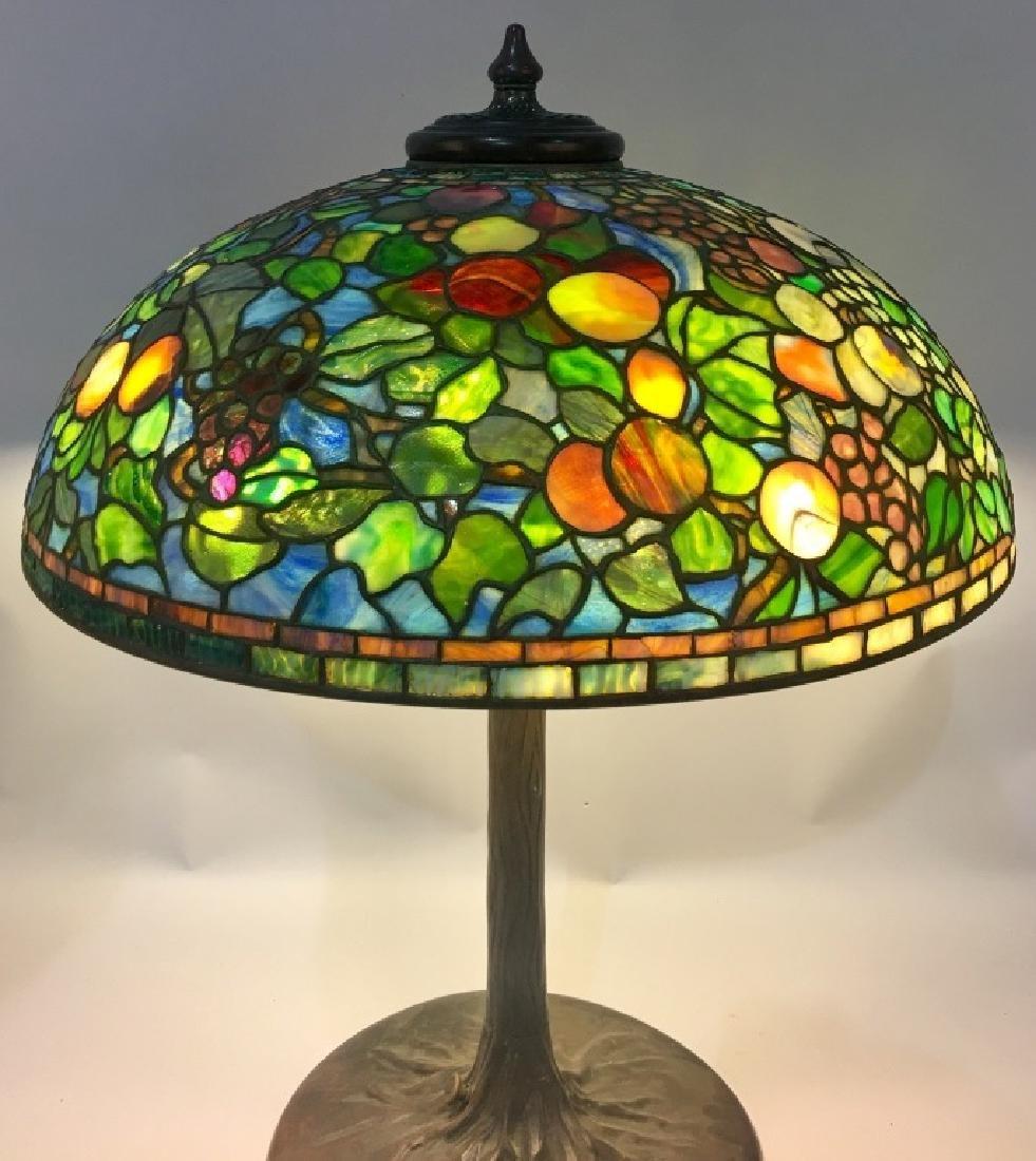"24"" TIFFANY STUDIOS ""FRUIT"" LEADED GLASS LAMP - 2"