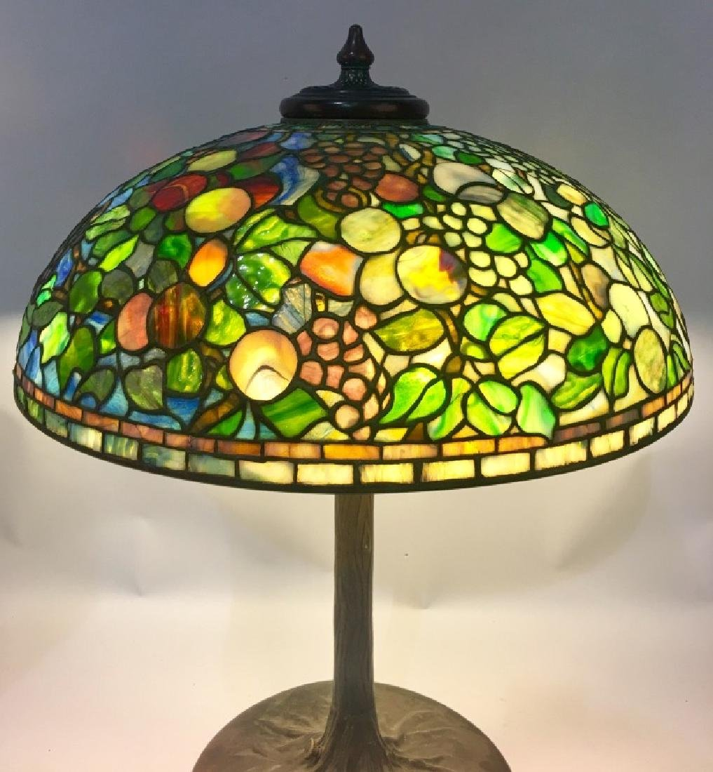 "24"" TIFFANY STUDIOS ""FRUIT"" LEADED GLASS LAMP - 3"
