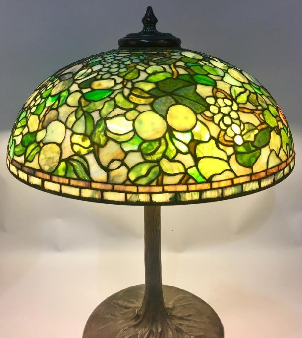 "24"" TIFFANY STUDIOS ""FRUIT"" LEADED GLASS LAMP - 4"