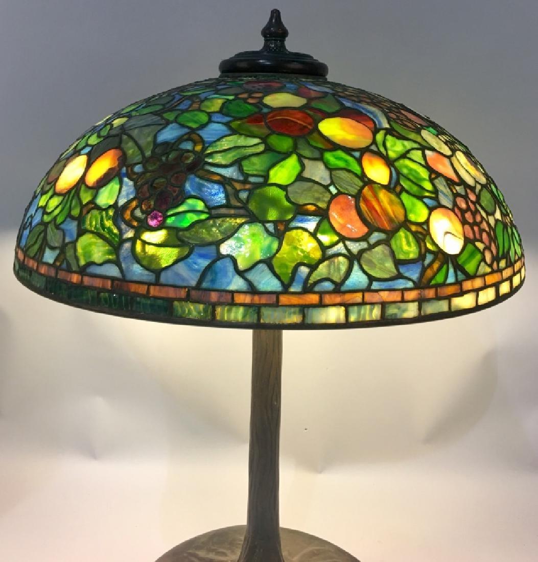 "24"" TIFFANY STUDIOS ""FRUIT"" LEADED GLASS LAMP - 6"
